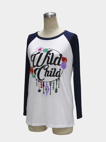 Black Round Collar Raglan Sleeve Top with Letter and Flower Print