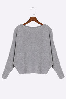 Grey Sexy Pullover Bat Sleeves Loose Jumper