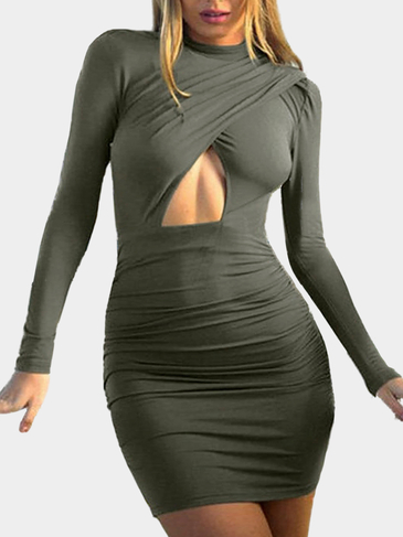 Green High Neck Wrap Dress With Cutout Detail