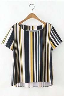 Loose Round Neck Short Sleeves Stripe Pattern T-shirt
