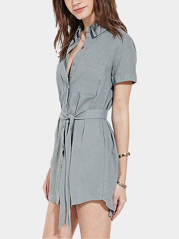 Fashion Curved Hem Shirt Mini Dress