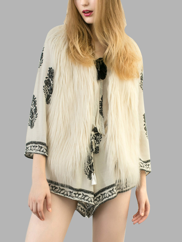 Beige Fashion Sleeveless Artificial Fur Open Front Coat