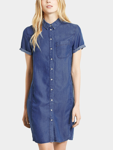 Denim Shirt Dress In College style