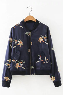 Dark Blue Long Sleeves Embroidery Random Flower Pattern Bomber Jacket