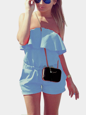 Blue Off The Shoulder Elastic Waist Playsuit