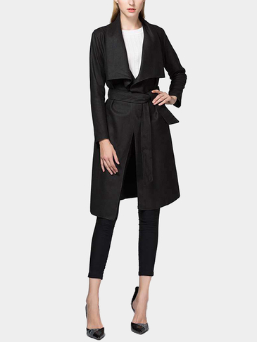 Black Fashion Lapel collar Long Trench Coat with Belt