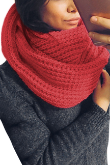 Watermelon Red Cosy Knitted Infinity scarf