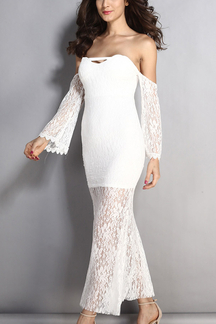 White Off Shoulder Long Sleeves Maxi Dress with Lace Details