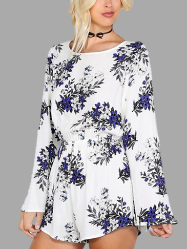 Floral Print Pattern Flared Sleeves Playsuit
