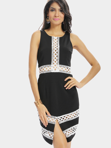 Black Hollow Out Splited Sleeveless Mini Dress with Round Neck