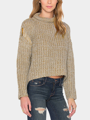 Plain Color High Neck Short Length Sweater