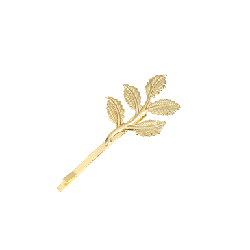 Small Leaf Hair Clip in Gold
