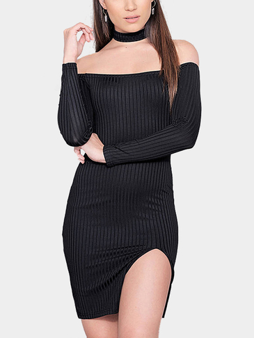 Black Bodycon Off Shoulder Splited Hem Mini Dress
