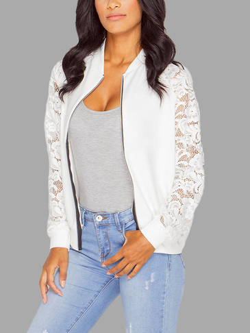 Fashion White Zipper Front Lace Outerwear