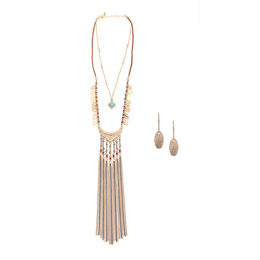 Tassel Pendant Layered Necklace with Earrings