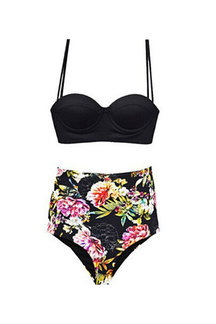Random Floral Print High-waisted Two-piece Swimsuit