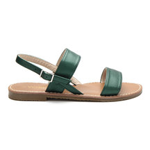 Green Leather look Pin Buckle Strap Simple Flat Sandals
