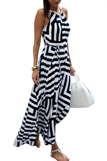 See Through Halter Stripe Pattern Dress