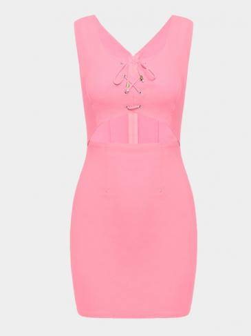 Pink Sleeveless Self-tie Hollow Bodycon Mini Dress