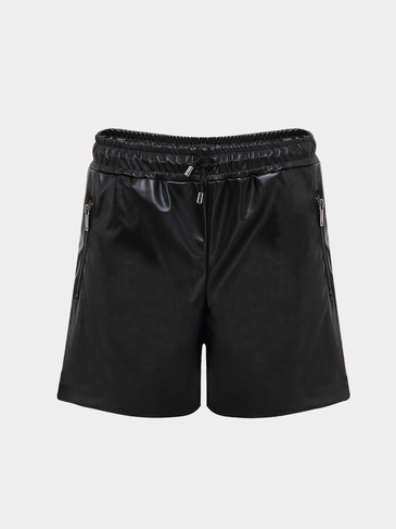 PU Shorts with Zip Pockets