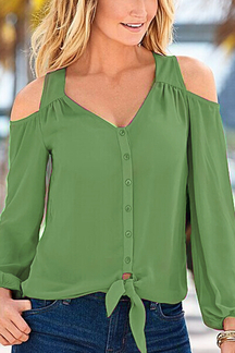 Green Chiffon Cold Shoulder V-neck Long Sleeves Blouse
