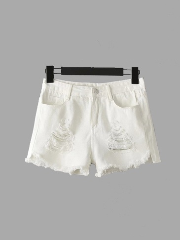 White Fringe Ripped Denim Shorts