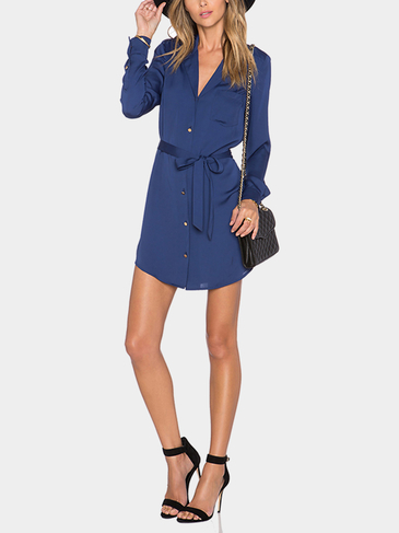 Navy Belted Shirt Mini Dress
