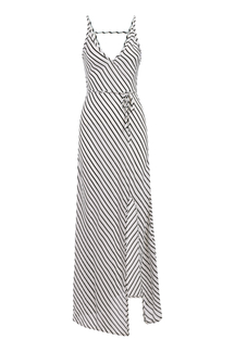 Stripe Pattern V-neck Sleeveless Open Back Maxi Dress