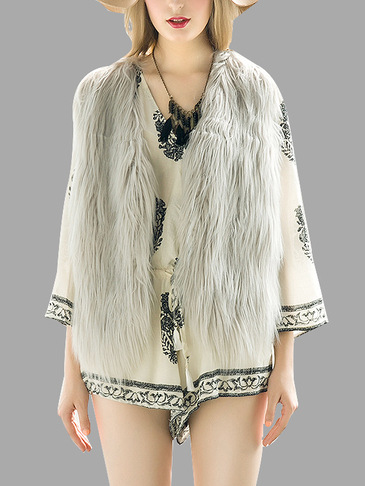 Grey Fashion Sleeveless Artificial Fur Open Front Coat