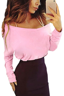 Pink Round Neck Long Sleeves Causal T-shirt