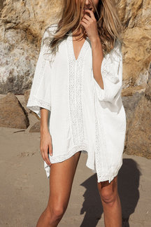 White V-neck Bat Sleeve Crochet Lace Cover-up