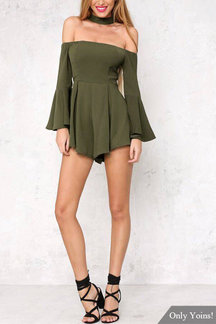 Off Shoulder Flared Sleeves Pleated Playsuit