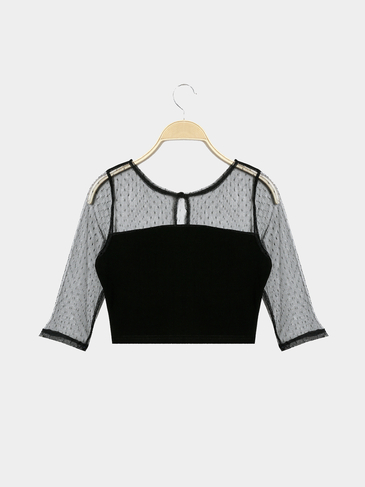 Casual Mesh Details See-through Crop Blouse