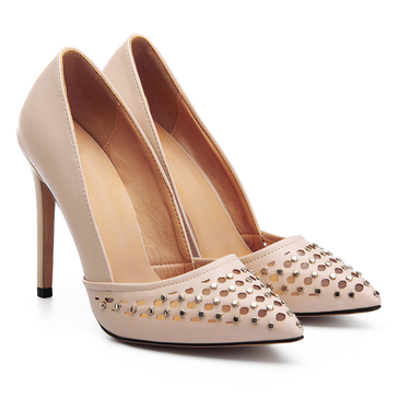 Apricot Studded Leather Look Stiletto Heels