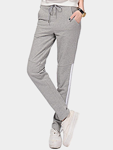 Grey Elastic Waist Side Pockets Sport Trousers