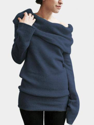Dark Blue Pile Collar Long Sleeves Casual T-shirts