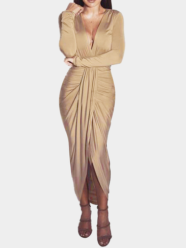 Khaki Sexy V-neck High Waist Irregular Hem Maxi Dress