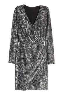 Wrap Front Dress in Zebra Sequins
