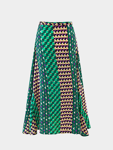 Boho Green Color Casual Random Floral Printed Strappy Maxi Skirt