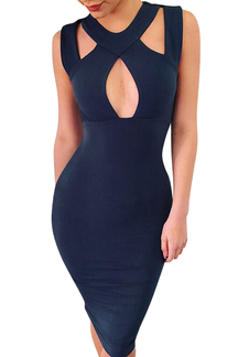 Blue Cross Back Sleeveless Bodycon Halter Dress