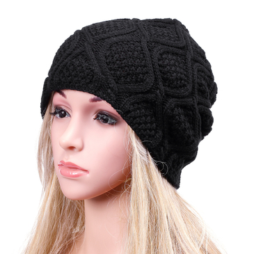 Black  Crochet Knit Ribbed Beanie Hat