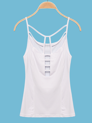 White Sleeveless Top with Cut Out Details
