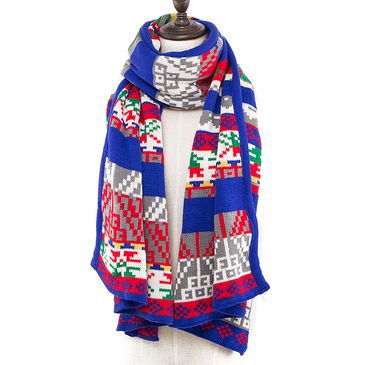 Geo-Tribal Pattern Wrap Scarf In Knit