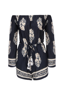Navy Leaf Print Off-the-shoulder Playsuit
