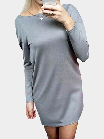Grey Round Neck Cross Back Hollow Detail Mini Dress