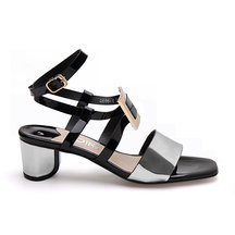 Black Glossy Finish Buckle Over Block Heel Sandals With Silver Strap Front