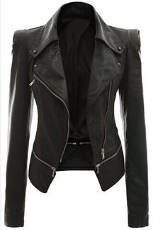 Black Casual Lapel Collar Zipper Details Biker Jacket
