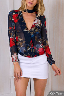 Sexy V-neck Curved Hem See-through Shirt In Random Floral Pattern