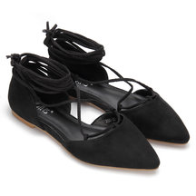 Suede Lace-up Flats in Black