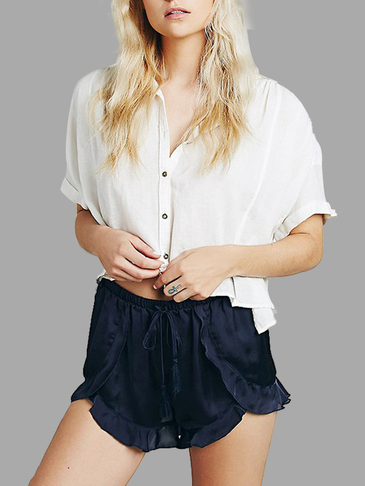 Black Flounced Hem Fashion Shorts